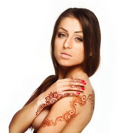 Pretty Girl with Fake Tattoo - Henna